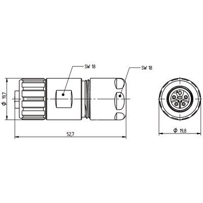 M12 Power kabelkontakt: Rak hona - K-kod