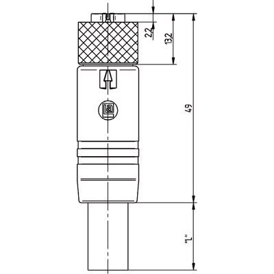 M12 Power rak hona till öppen ände, skärmad - T-kod
