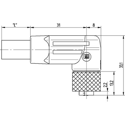 M12 Power vinklad hona till öppen ände, skärmad - K-kod
