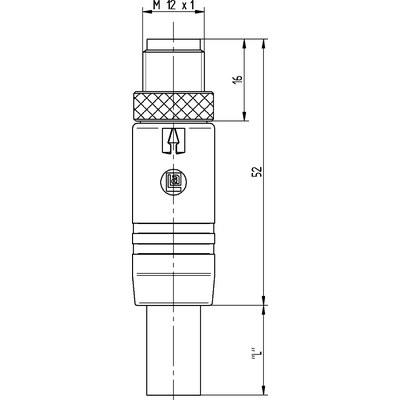 M12 Power rak hane till öppen ände, skärmad - T-kod