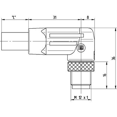 M12 Power vinklad hane till öppen ände, skärmad - K-kod