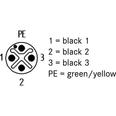 M12 Power rak hane till öppen ände, skärmad - S-kod