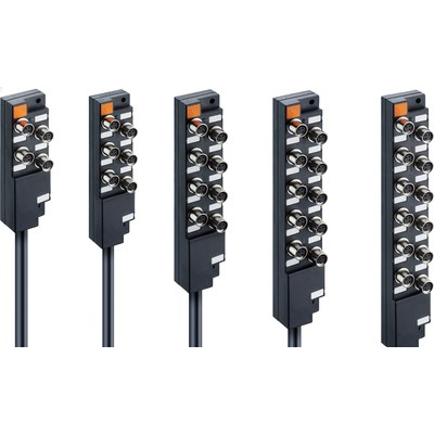 Splitterbox i plast med masterkabel – M8-portar, 1 signal/port
