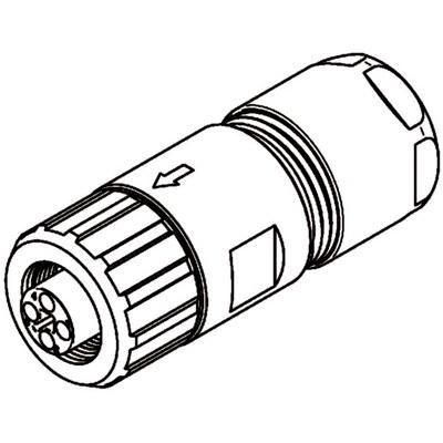 M12 Power kabelkontakt: Rak hona - T-kod