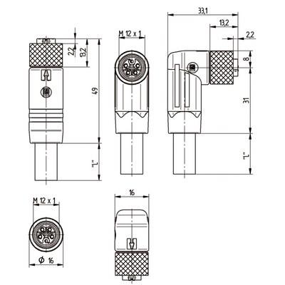 M12 Power rak hane till M12 vinklad hona - L-kod