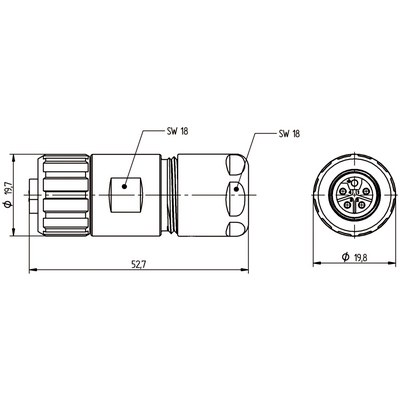 M12 Power kabelkontakt: Rak hona - L-kod