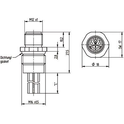 M12 Power chassikontakt: Hane, frontmontage - K-kod
