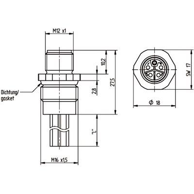 M12 Power chassikontakt: Hane, frontmontage - L-kod