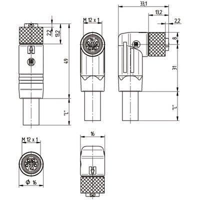 M12 Power rak hane till M12 vinklad hona - S-kod