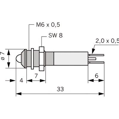 Panelindikator 1902, 3 mm/M6 std