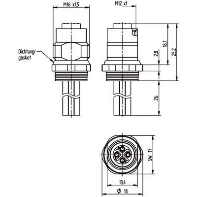 M12 Power chassikontakt: Hona, bakmontage - S-kod