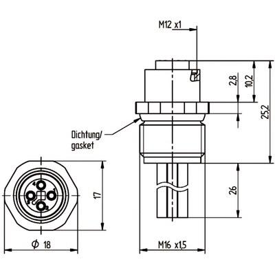 M12 Power chassikontakt: Hona, frontmontage - T-kod