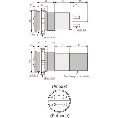 Panelindikator 195E, 16 mm/M22 230 V