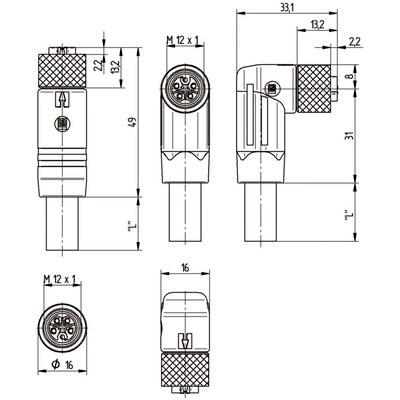 M12 Power rak hane till M12 vinklad hona - K-kod
