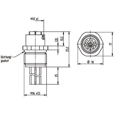 M12 Power chassikontakt: Hona, frontmontage - L-kod